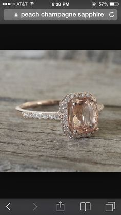 Peach champagne sapphire engagement ring