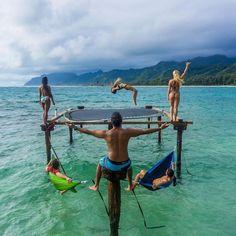 Trampoline in the sea looks fun! / Hawaii / Kailua Kat Say Yes To Adventure
