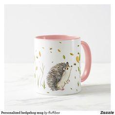 Personalized hedgehog mug Hedgehog mug, click customize to add text or message Cute Coffee Mugs, Tea Mugs, Coffee Tumbler, Coffee Cups, Pet Gifts, Gifts In A Mug, Wonderful Day, Pretty Mugs, Animal Mugs