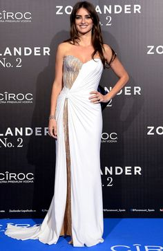 Penelope Cruz in a strapless white-and-gold Atelier Versace dress