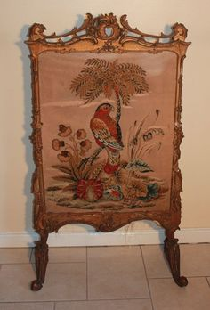 Beautiful Antique French Gilt Gesso Fire Screen 18th Century