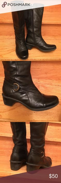 "Clarks tall leather boots Super nice tall boots, side zipper, molded sole and heel, 2"" tall. Leather upper and superior quality construction!! EUC Clarks Shoes Winter & Rain Boots"