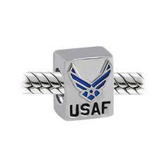 Bling Jewelry Patriotic 925 Silver USAF Air Force Bead Fits Pandora Biagi Troll