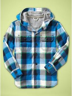 Flannel lined hooded plaid shirt jacket maybe with a cool graphic painted on the back>?