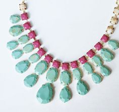 painted rhinestone Mint necklace rose and gold by ColorblockShop