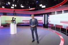 Explore photos of NOS Studio TV set design in this interactive gallery of the studio. Tv Set Design, Tv Sets, New Set, Basketball Court, Explore, Gallery, Studio Design, Roof Rack, Exploring