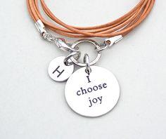 "Boho Triple Wrap LEATHER Bracelet, "" I Choose Joy ,"" Front closure, Personalize, Gift For Her, Stainless Steel Charm Bracelet, 756"