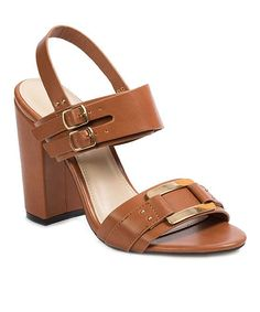 Tan Thelma Buckle-Accent Sandal