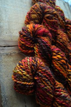 Hand spun, hand dyed by me, using acid dyes. This yarn is a blend of 3rd shearing Mohair and Angora from our own goats and rabbits. It is incredibly