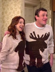 Lily and Marshall - Haha! We have to find these sweaters somewhere for the annual ugly sweater party.I think we would win! Best Tv Couples, Best Couple, Cutest Couples, Perfect Couple, That 70s Show, How I Met Your Mother, Ugly Sweater Party, Ugly Christmas Sweater, Tacky Sweater