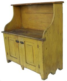 Bucket Bench with wonderful yellow paint.perfect for the wooden buckets and the fab old stoneware crocks, etc! Primitive Cabinets, Primitive Furniture, Antique Furniture, Painted Furniture, Prim Decor, Country Decor, Farmhouse Decor, Target Farmhouse, Country Homes
