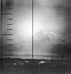 US NAVY PHOTO View of Mount Fujiyama Through a US Navy Periscope, c. 1945 gelatin silver print