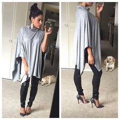 FLASH SALEHeather gray turtle neck cape tunic Brand new without tags. This cape is so chic and versatile! I love the open bodice. (no arm holes) Still covers you completely! Very soft and comfy. *Also available in black   ✋Price Firm ❌NO Trades❗️  Non smoking home  Same/next day  Tops Tunics