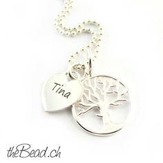 Herz Gravur & Lebensbaum 925 Silber Collier