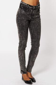 Acid Washed Black Skinny Jeans Ex-Branded