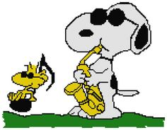 Counted Cross Stitch Pattern Jazzy Snoopy with by DreamyMemories, $4.25