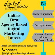 It is really important for you to understand how technology is shaping the future & why upskilling  is  crucial for one's career.  The Digital Marketing Training program crafted by Digital Platter Learning Studio is a complete model of 'Learning-Practice-&-Implementation', which is the key to become a Digital Marketer.  So, if you are –  A Career Aspirant – You should be totally Job-Ready  An Entrepreneur - You should be able to achieve Online Marketing Goals of your business  A Home-maker o Marketing Goals, Marketing Training, Online Marketing, Digital Marketing, Learning Web, Interactive Learning, Classroom Training, Education And Training, Marketing Institute