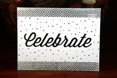 Handmade Birthday Card, Celebrate, Silver and White, Polka Dots, Graphic Border, Blank Inside, Unique, Free US Shipping, One of a Kind, by TresorValeur on Etsy
