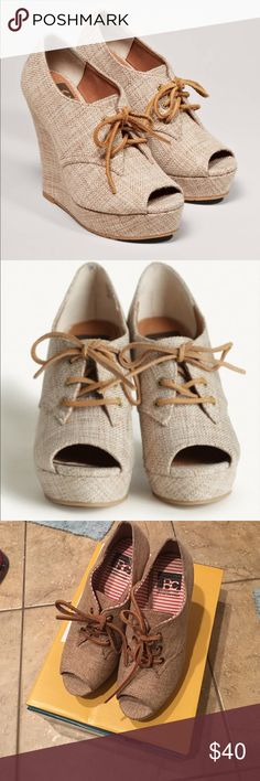 BC Footwear ruffle burlap wedges size 7 BC Footwear ruffle burlap wedges size 7. Worn twice. Great condition. Comes with original box. No holds or trades. ❤️❤️❤️ BC Footwear Shoes Wedges