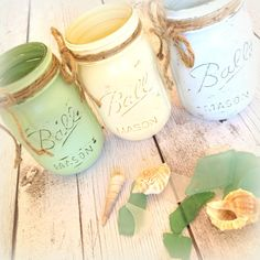 Painted Mason Jars  Set of 3 Shabby Vase by LollysCubbyHole