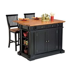 Home Styles 5003948 Kitchen Island with Stool Black and Distressed Oak Finish *** See this great product. (Amazon affiliate link)