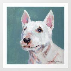 Mini Bull Terrier Art Print by Melanie Hopper - $14.56