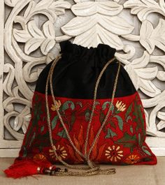 Black Silk Potli Bag With Kantha Embroidery