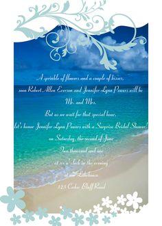 Beach Theme Star Fish Bridal Shower Invitation Custom Order for