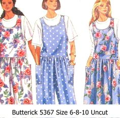 Misses+Jumper++Dropped+Waist+Jumpsuit+Top++Sizes+6-8-10+Uncut++Butterick+Sewing+Pattern+5367
