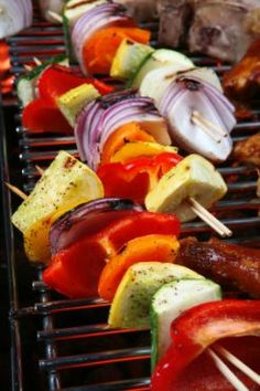 Crazy kabobs : 12 Heathy foods on a stick  Kabobs are my favorite! cant wait to start grilling veggies