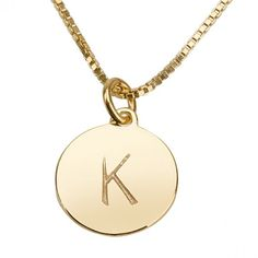 One Disc Initial Necklace- Gold