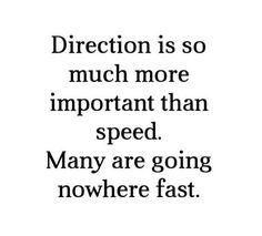 Direction is so much more important than speed. Many are going nowhere fat.