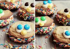 cute for a party, premade cookies, icing, rolled in sprinkles.