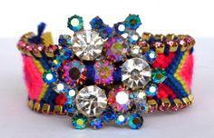 Crystal Snowflake Funky Friendship Bracelet in BLUE from lumibon