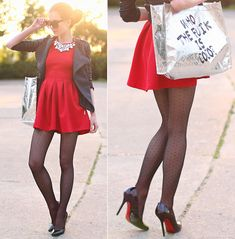 Lovelyshoes Red Mini Flared Dress, Sheinside Grey Quilted Jacket, Modekungen Silver Shopper Bag, Choies Crystal Necklace, Persunmall Black Pumps, Black Dot Tights, 80's Purple Black Sunglasses