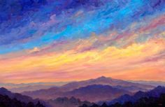 Mountain painting at sunset