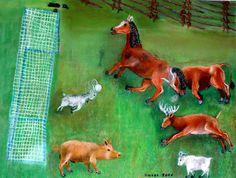 Djurens fotbollsmatch, pastell. The animals' football match, pastel.