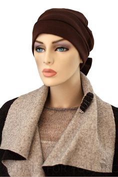 $18.50  The Brown Two Way Cap is a simple yet elegant cap, which can be styled in 3 different ways, with the bow, without, or like a turban with a scarf instead.