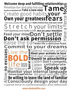 Manifesto For The Bold Life