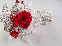 Preserved red roses Wrist Corsage by Springinabox on Etsy, $30.00