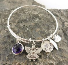 Angels Watching Over Me Personalized Hand Stamped Adjustable Wire Bangle Bracelet