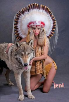 Lady with the wolf