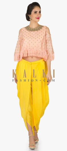 Peach cape and yellow dhoti suit featuring the moti sequin work only on Kalki Wedding Suits For Bride, Indian Wedding Outfits, Bridal Outfits, Indian Outfits, Punjabi Fashion, Ethnic Fashion, Bollywood Fashion, Indian Fashion, Yellow Costume