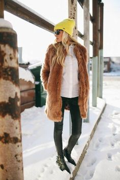 #Faux #Fur With A Pop Of #Yellow