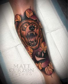 """6,657 Likes, 48 Comments - Matt Curzon Tattoo (@mattcurzon) on Instagram: """"I get horny when people ask me for bear tattoos @cheyenne_tattooequipment @butcherstattoobalm…"""""""