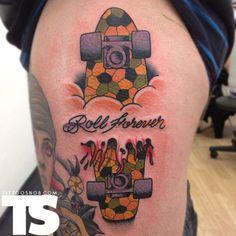 Skateboard tattoo by Nick Baldwin Skateboard Tattoo, Skate Tattoo, Skateboard Girl, I Tattoo, Sweet Tattoos, Leg Tattoos, Girl Tattoos, Western Tattoos, Throat Tattoo