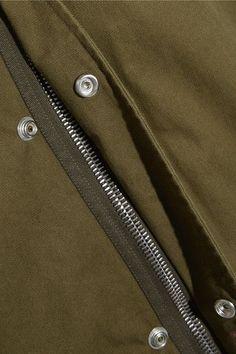 Saint Laurent - Hooded Cotton And Ramie-blend Gabardine Parka - Army green - FR44