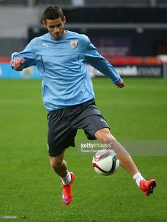 Gaston Pereiro of Uruguay controls the ball during a Uruguay training session at Otago Stadium prior to the FIFA U-20 World Cup on May 30, 2015 in Dunedin, New Zealand.
