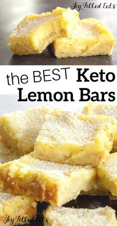 These easy Keto Lemon Bars come together in minutes. When you are craving a fresh and vibrant dessert my healthy lemon squares will be a perfect fix. Dessert Simple, Keto Dessert Easy, Easy Desserts, Dessert Recipes, Easter Recipes, Dinner Recipes, Sugar Free Desserts, Sugar Free Recipes, Low Carb Recipes