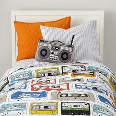 The Land of Nod | Boys Bedding: Cassette Themed Bedding Set in Boy Bedding